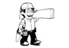 Dibujo para colorear obrero de la construcción