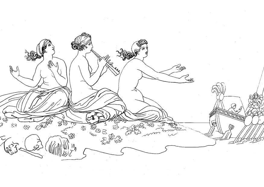 Dibujo para colorear Odisea y sirenas - Img 17481