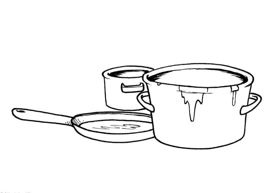 Dibujo para colorear Ollas y sartn  Img 8201