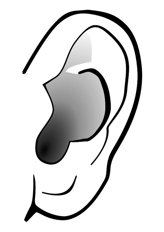 Dibujo para colorear oreja - silencio - Img 29303