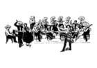 Dibujo para colorear orquesta mejicana