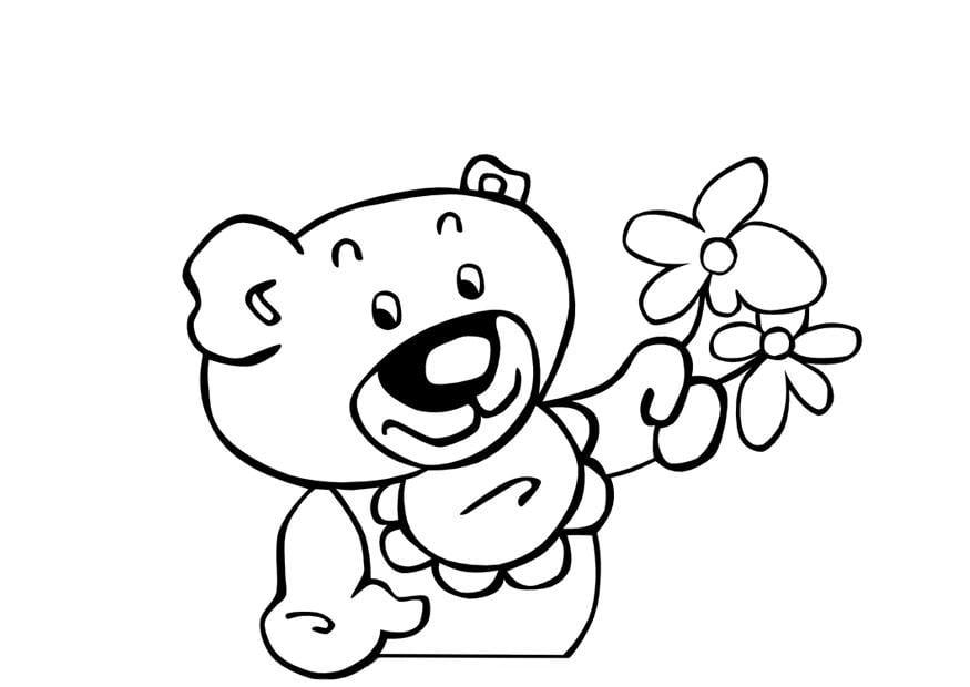 Dibujos Para Colorear Grandes: Dibujo Para Colorear Osito De Peluche Con Flores