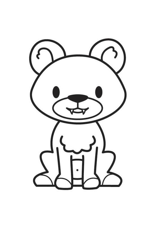 Dibujo para colorear oso - Img 17522