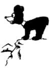 Dibujo para colorear oso en montaña