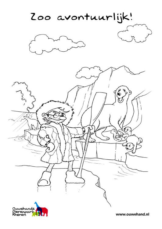 Dibujo para colorear oso polar en el zoo - Img 25584