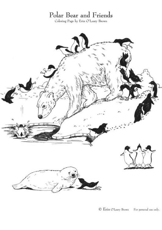 Dibujo para colorear Oso polar y amigos - Img 5995