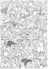 Dibujo para colorear otoño en el bosque