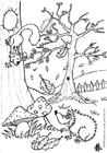 Dibujo para colorear Otoño - erizo y ardilla