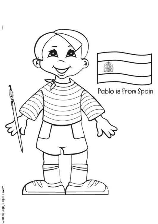 Dibujo para colorear Pablo de España con bandera - Img 5642