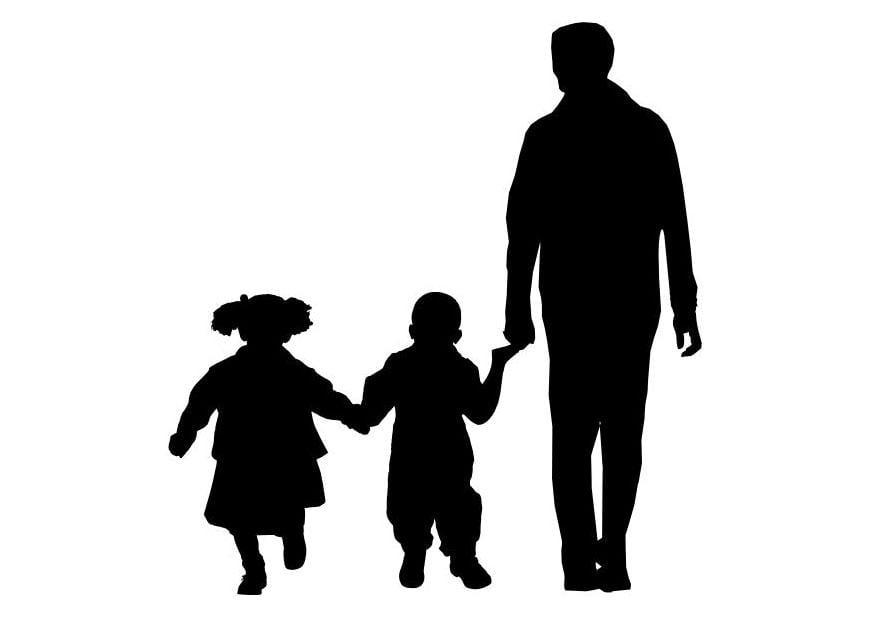 Libro Para Colorear Madre Hija Ilustraciones Vectoriales Clip: Dibujo Para Colorear Padre Con Hijo E Hija