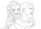 Dibujo para colorear padre e hija