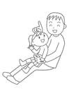 Dibujo para colorear padre e hijo