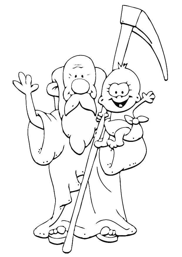 Dibujo para colorear padre tiempo - año nuevo - Img 20241