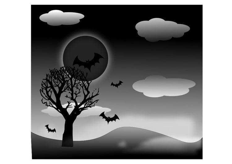 Dibujo para colorear paisaje de Halloween - Img 19727