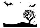 Dibujo para colorear paisaje de Halloween