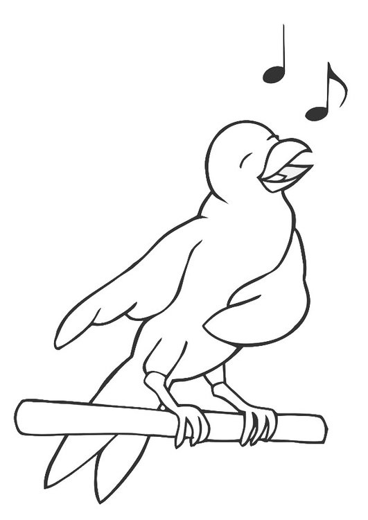 Dibujo para colorear pájaro cantando - Img 19450