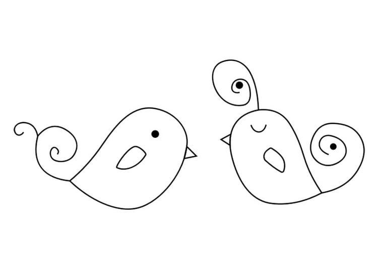 Dibujo para colorear pájaros - Img 30151