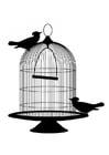Dibujo para colorear pájaros fuera de la jaula