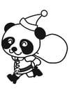 Dibujo para colorear panda con traje de navidad