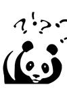 Dibujo para colorear Panda haciendo preguntas
