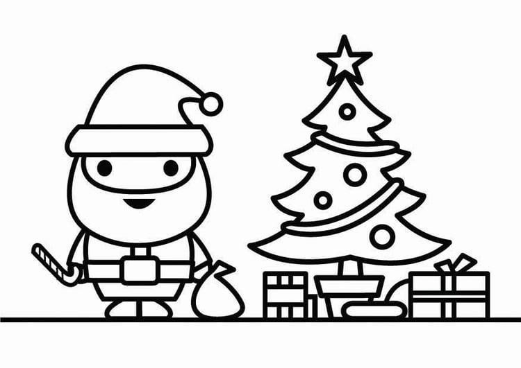 Dibujo para colorear Papá Noel con árbol de Navidad - Img 26427