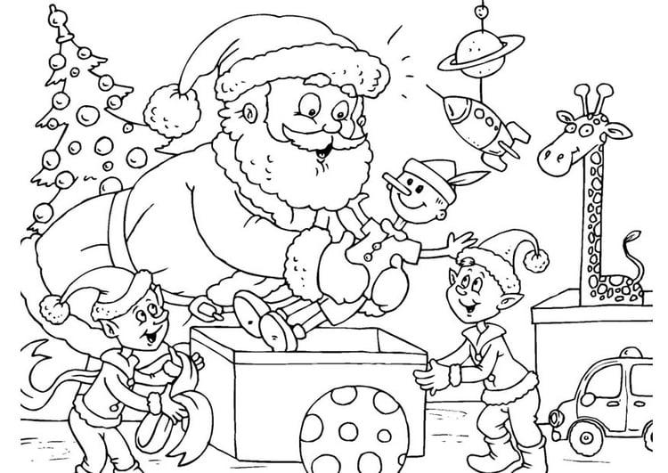 Dibujo para colorear Papá Noel con elfos - Img 23389