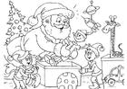 Dibujo para colorear Papá Noel con elfos