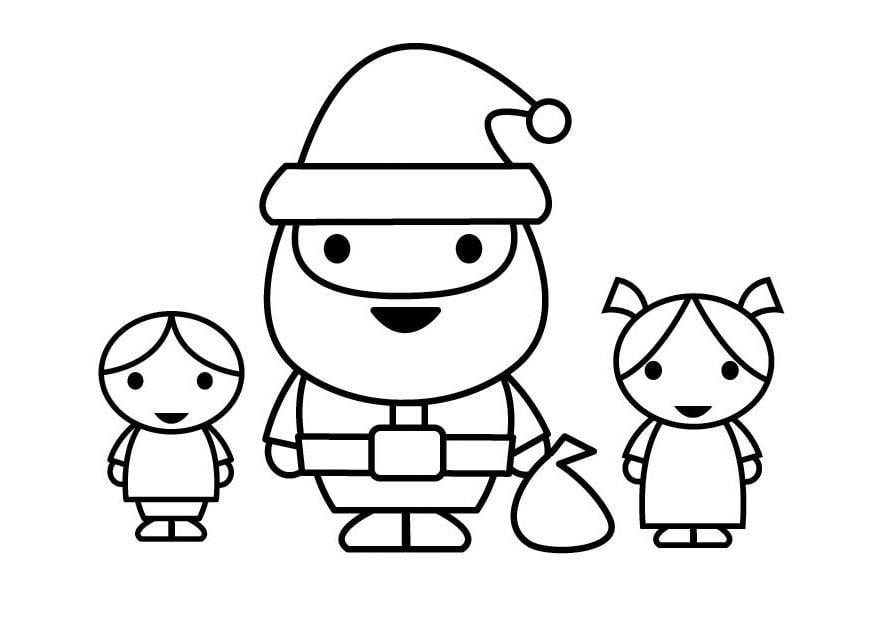 Dibujo para colorear Papá Noel con niños - Img 23108