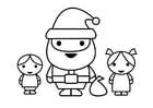 Dibujo para colorear Papá Noel con niños