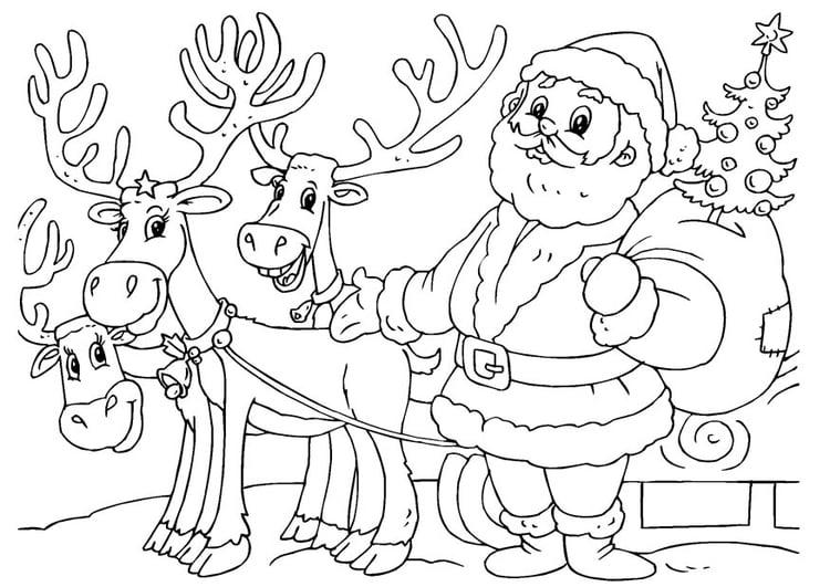 Dibujo para colorear Papá Noel con renos - Img 23062