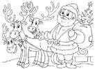 Dibujo para colorear Papá Noel con renos