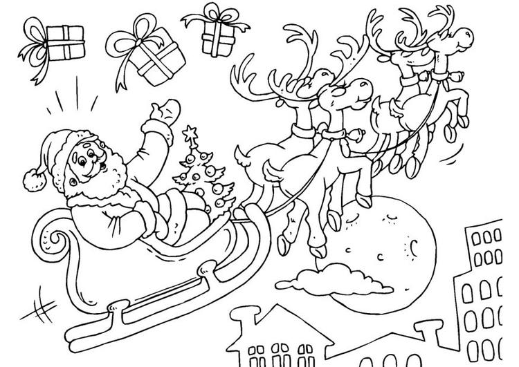 Dibujos De Papa Noel En Color Para Imprimir: Dibujo Para Colorear Papá Noel En Trineo