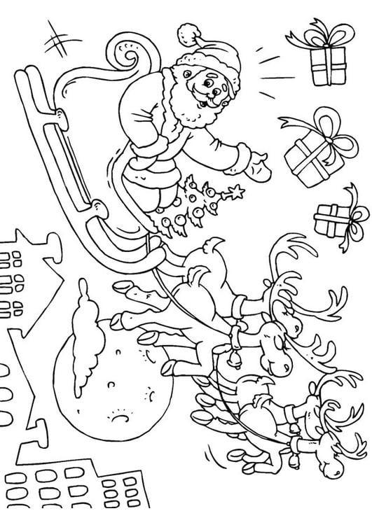 Dibujo para colorear papá noel en trineo - Img 23379