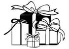 Dibujo para colorear paquetes de regalo