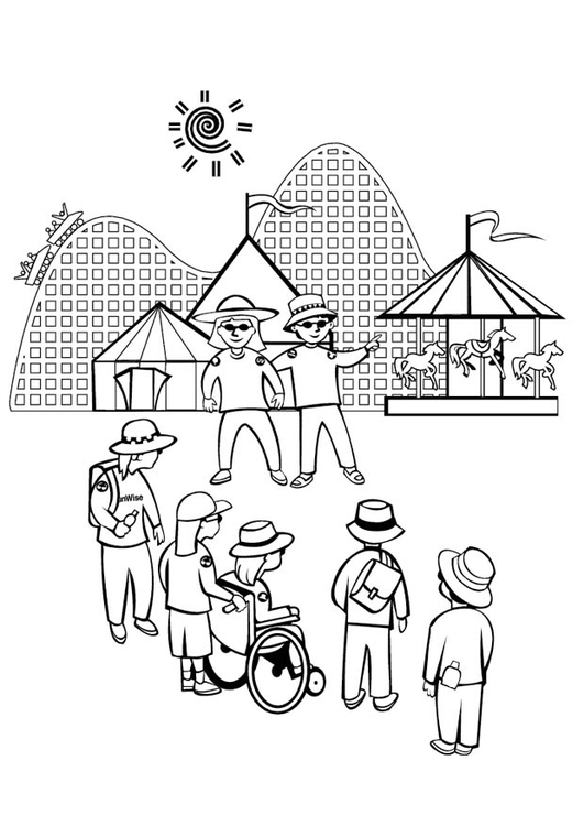 Dibujo para colorear Parque de atracciones - Img 11350