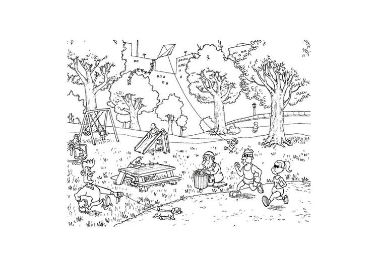 Dibujo Parque Infantil Para Colorear: Dibujo Para Colorear Parque
