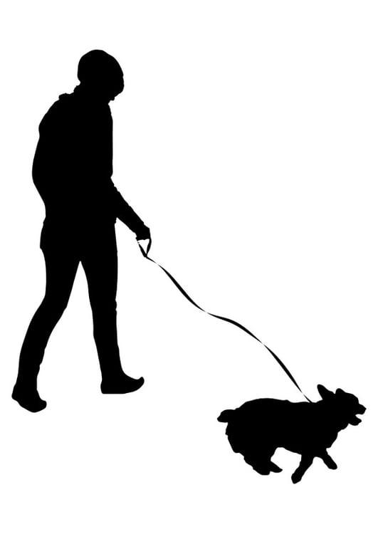 Dibujo para colorear pasear al perro - Img 29645