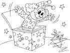 Dibujo para colorear payaso en una caja