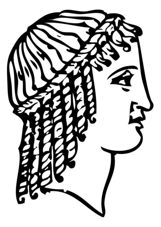 Dibujo para colorear peinado griego - Img 28367