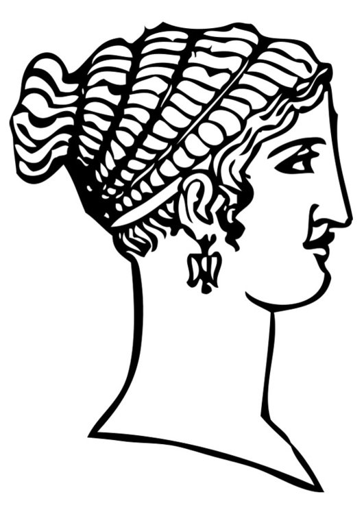 Dibujo para colorear peinado griego - Img 28462