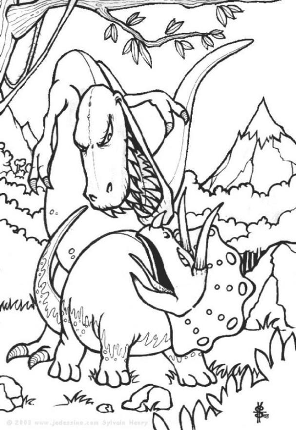 Dibujo para colorear pelea de dinosaurios img 6443 - Top coloriage dinosaures ...