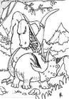 Dibujo para colorear Pelea de dinosaurios