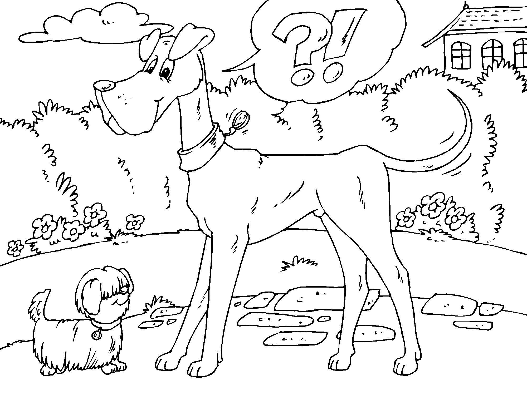 Dibujo Para Colorear Perro Grande Y Perro Pequeño Dibujos