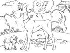 Dibujo para colorear perro grande y perro pequeño