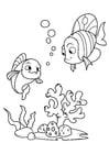 Dibujo para colorear pescado con amigo en el mar