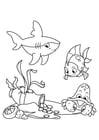 Dibujo para colorear pescado con tiburon y cangrejo