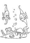 Dibujo para colorear pescado en el mar con cangrejo