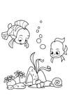 Dibujo para colorear pescado en el mar