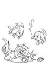 Dibujo para colorear pescado y volante