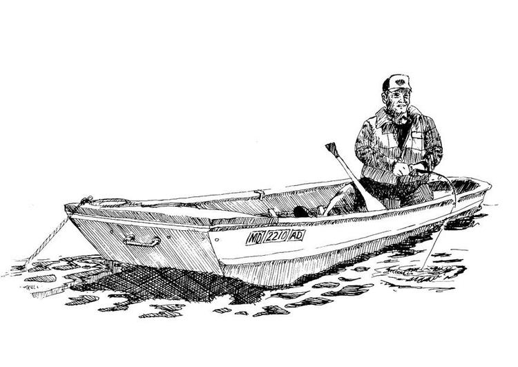 Dibujos Para Colorear Un Pescador: Dibujo Para Colorear Pescador En Barco